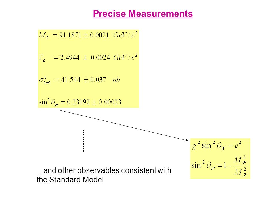 Precise Measurements...and other observables consistent with the Standard Model