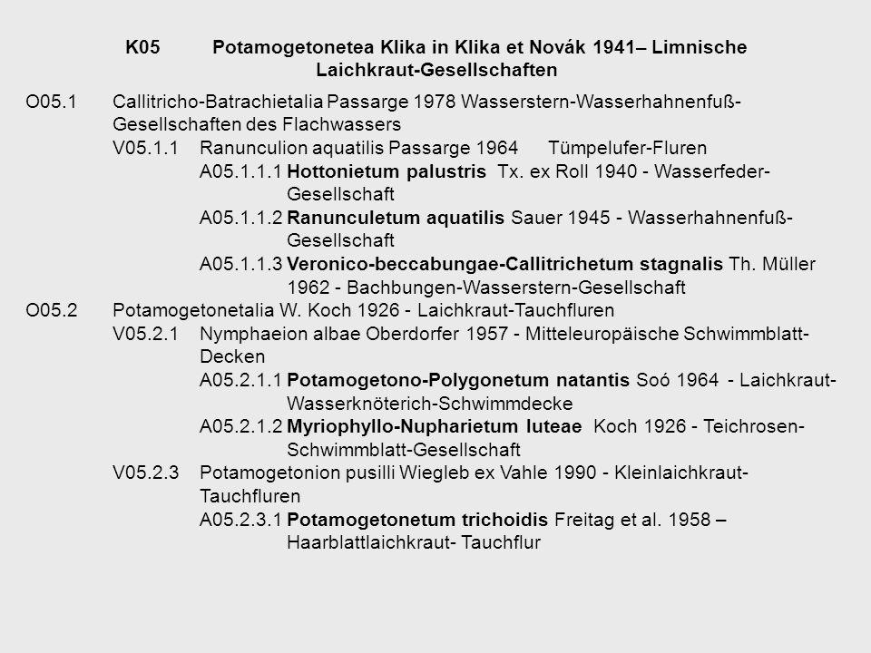 O05.1Callitricho-Batrachietalia Passarge 1978Wasserstern-Wasserhahnenfuß- Gesellschaften des Flachwassers V05.1.1Ranunculion aquatilis Passarge 1964Tü