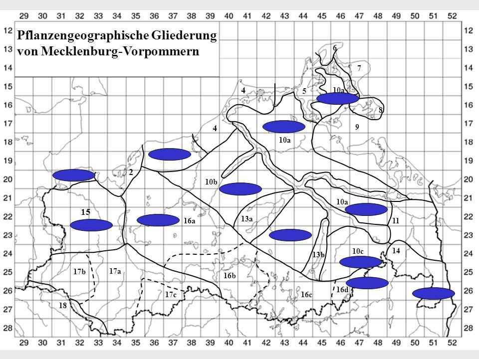 Pflanzengeographische Gliederung von Mecklenburg-Vorpommern 3 2 4 4 10b 1 15 16a 13a 17b 17a 17c 16b 16c 16d 10c 13b 6 7 8 5 10a 9 10c 11 14 18