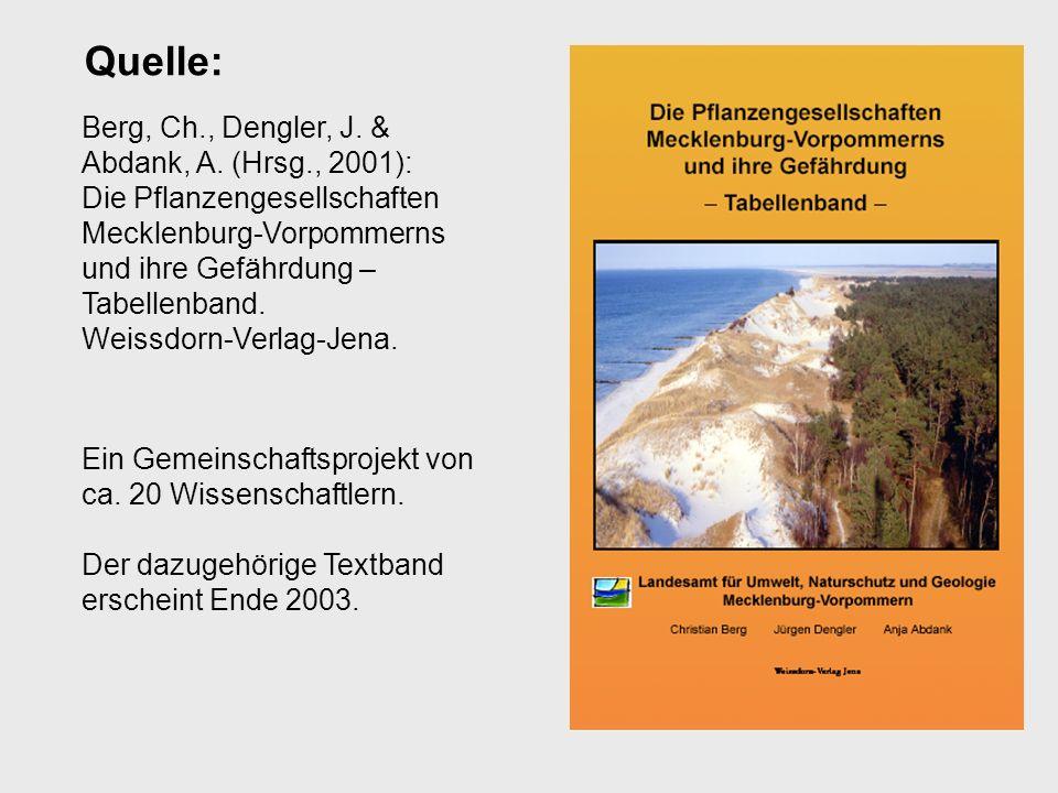 Berg, Ch., Dengler, J. & Abdank, A. (Hrsg., 2001): Die Pflanzengesellschaften Mecklenburg-Vorpommerns und ihre Gefährdung – Tabellenband. Weissdorn-Ve