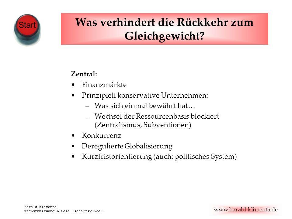 www.harald-klimenta.de Harald Klimenta Wachstumszwang & Gesellschaftswunder Was verhindert die Rückkehr zum Gleichgewicht? Zentral: Finanzmärkte Prinz