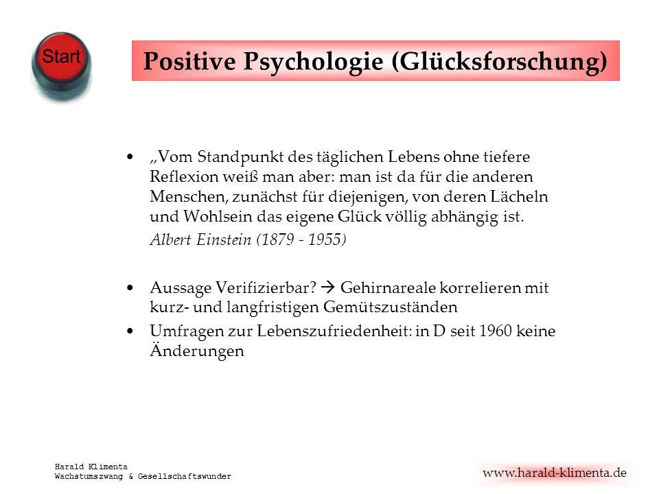 www.harald-klimenta.de Harald Klimenta Wachstumszwang & Gesellschaftswunder Positive Psychologie (Glücksforschung) Vom Standpunkt des täglichen Lebens