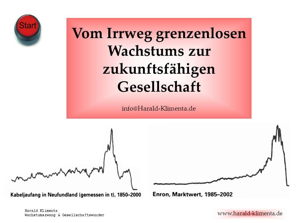 www.harald-klimenta.de Harald Klimenta Wachstumszwang & Gesellschaftswunder Vom Irrweg grenzenlosen Wachstums zur zukunftsfähigen Gesellschaft info@Ha