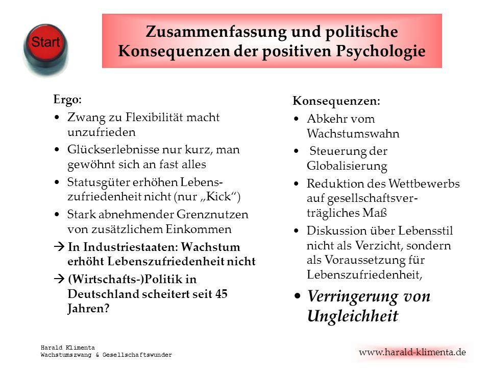 www.harald-klimenta.de Harald Klimenta Wachstumszwang & Gesellschaftswunder Zusammenfassung und politische Konsequenzen der positiven Psychologie Ergo