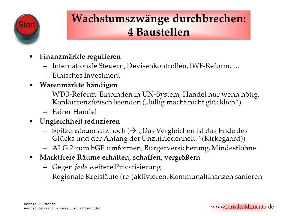 www.harald-klimenta.de Harald Klimenta Wachstumszwang & Gesellschaftswunder Wachstumszwänge durchbrechen: 4 Baustellen Finanzmärkte regulieren –Intern