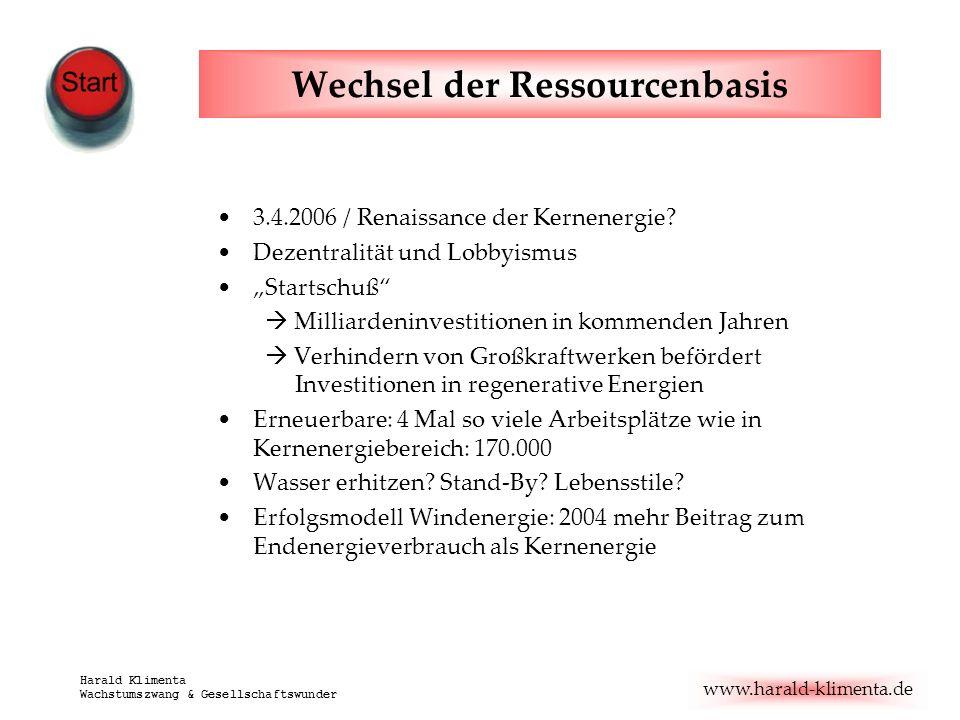 www.harald-klimenta.de Harald Klimenta Wachstumszwang & Gesellschaftswunder Wechsel der Ressourcenbasis 3.4.2006 / Renaissance der Kernenergie? Dezent