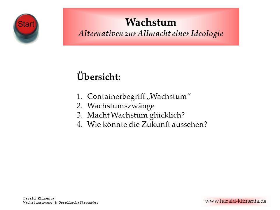 www.harald-klimenta.de Harald Klimenta Wachstumszwang & Gesellschaftswunder Übersicht: 1.Containerbegriff Wachstum 2.Wachstumszwänge 3.Macht Wachstum