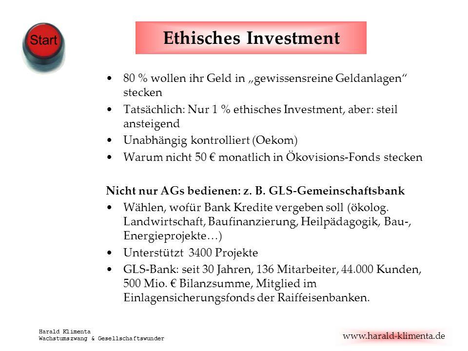 www.harald-klimenta.de Harald Klimenta Wachstumszwang & Gesellschaftswunder Ethisches Investment 80 % wollen ihr Geld in gewissensreine Geldanlagen st
