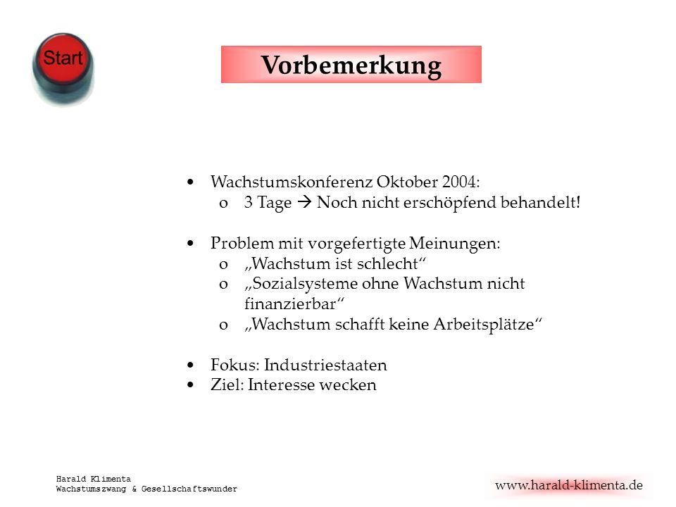 www.harald-klimenta.de Harald Klimenta Wachstumszwang & Gesellschaftswunder Wachstumskonferenz Oktober 2004: o3 Tage Noch nicht erschöpfend behandelt!