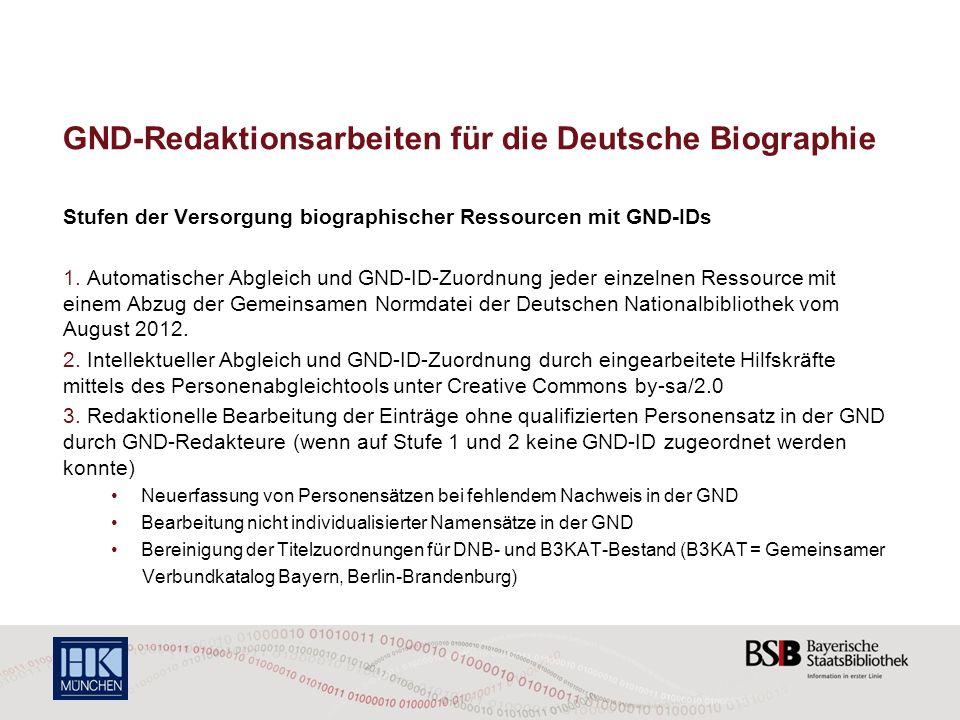 GND-Redaktionsarbeiten für die Deutsche Biographie Stufen der Versorgung biographischer Ressourcen mit GND-IDs 1. Automatischer Abgleich und GND-ID-Zu