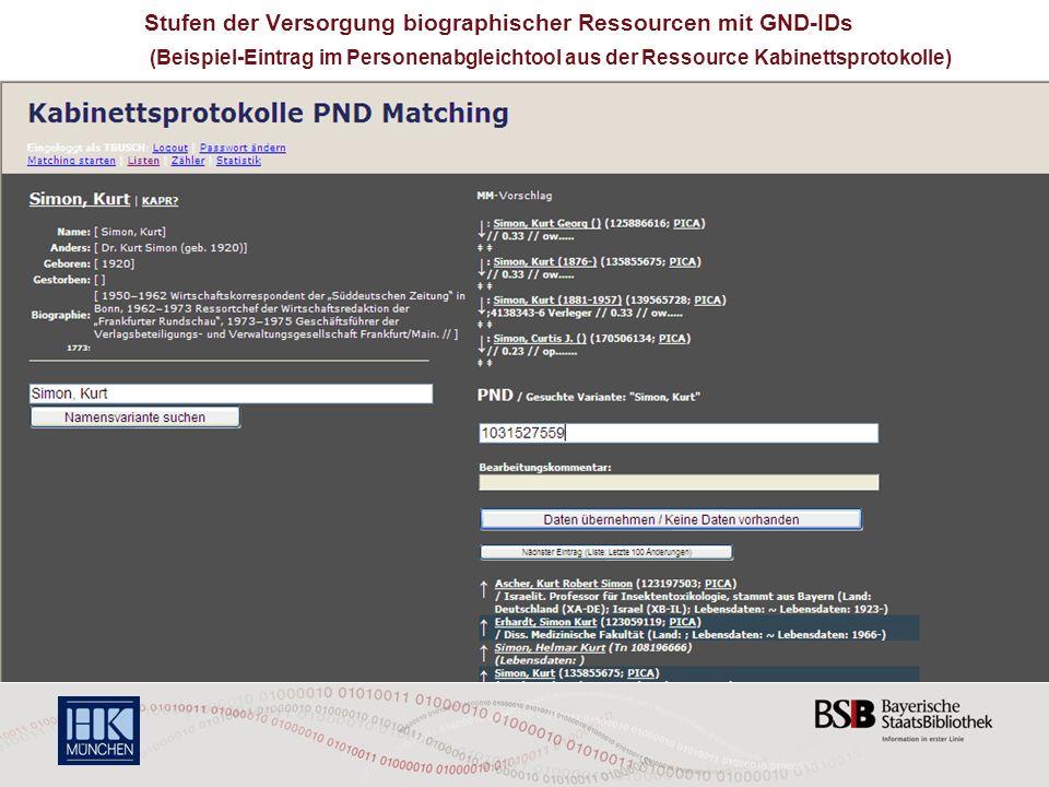5 Stufen der Versorgung biographischer Ressourcen mit GND-IDs (Beispiel-Eintrag im Personenabgleichtool aus der Ressource Kabinettsprotokolle)