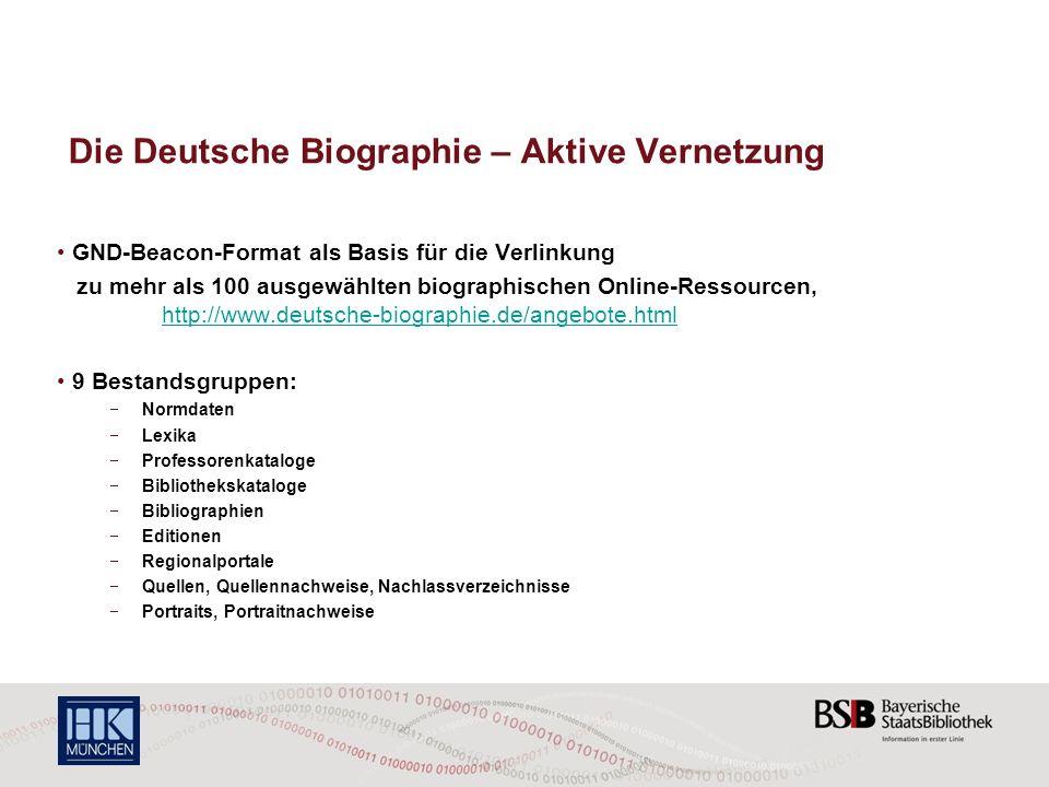 Die Deutsche Biographie – Aktive Vernetzung GND-Beacon-Format als Basis für die Verlinkung zu mehr als 100 ausgewählten biographischen Online-Ressourc