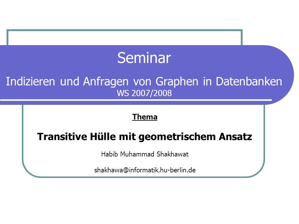 2 Transitive Hülle mit geometrischem Ansatz Übersicht Motivation Ziel definieren Mögliche Probleme Graphentheoretische Definitionen Kurzer Überblick in bisherige Lösungen Vorschlag mit geometrischem Ansatz Leistungsvergleich