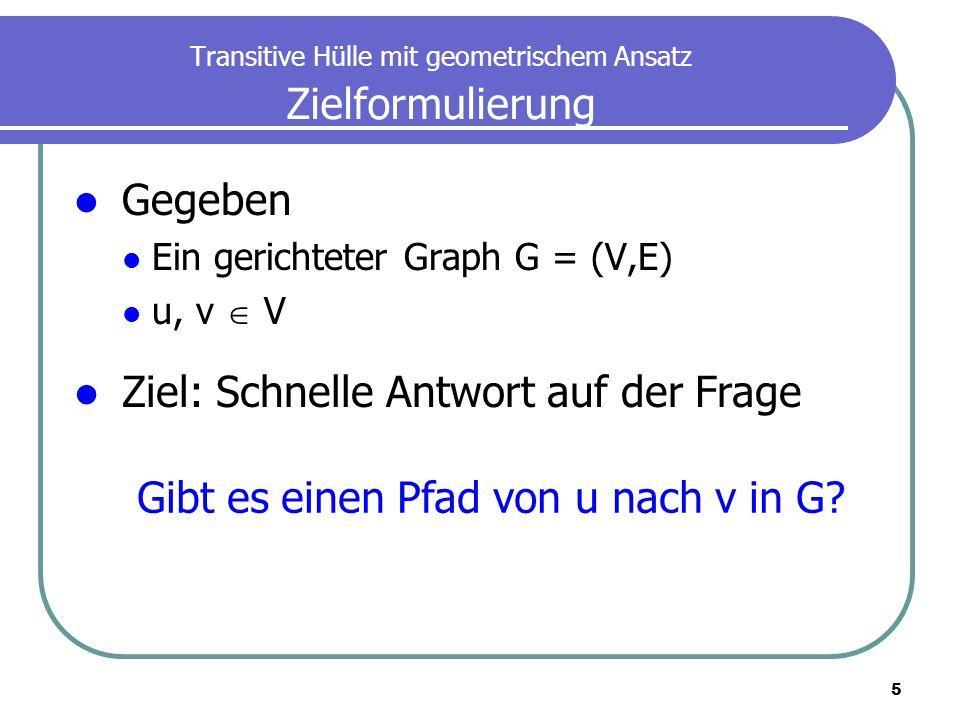 5 Transitive Hülle mit geometrischem Ansatz Zielformulierung Gegeben Ein gerichteter Graph G = (V,E) u, v V Ziel: Schnelle Antwort auf der Frage Gibt