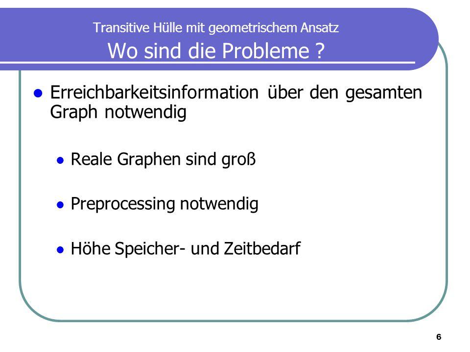 6 Transitive Hülle mit geometrischem Ansatz Wo sind die Probleme ? Erreichbarkeitsinformation über den gesamten Graph notwendig Reale Graphen sind gro
