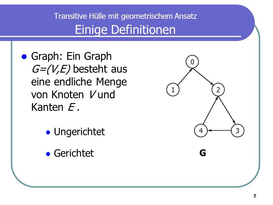 7 Transitive Hülle mit geometrischem Ansatz Einige Definitionen Graph: Ein Graph G=(V,E) besteht aus eine endliche Menge von Knoten V und Kanten E. 0