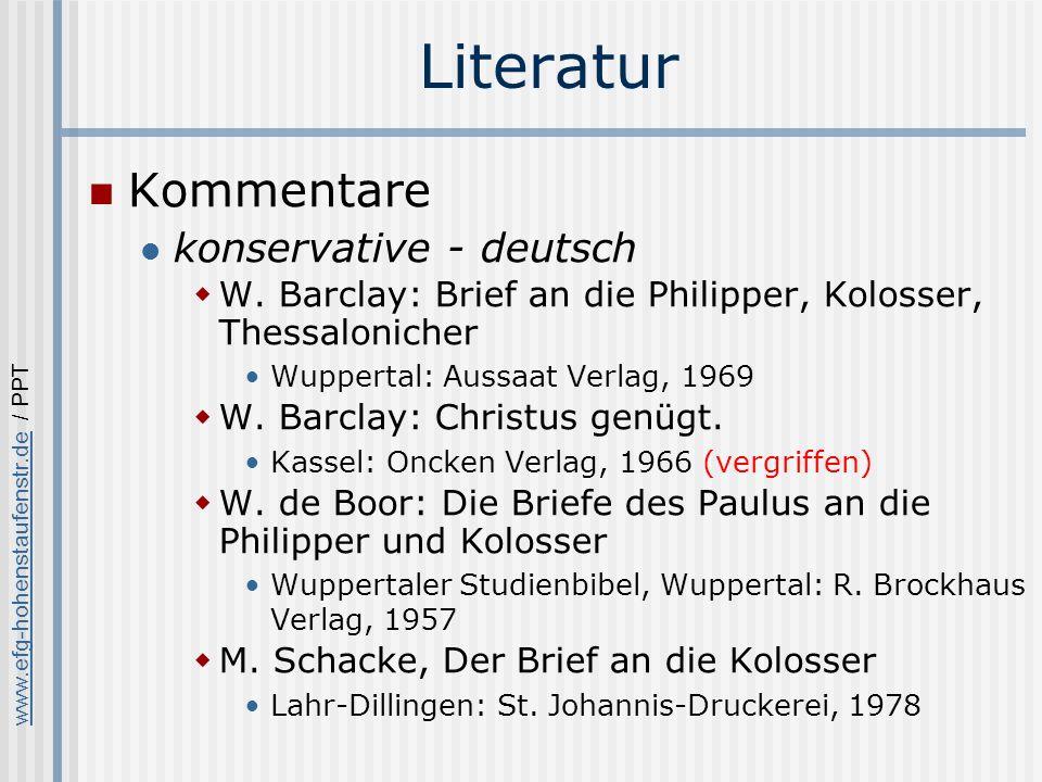 www.efg-hohenstaufenstr.dewww.efg-hohenstaufenstr.de / PPT Literatur Kommentare konservative - deutsch W.