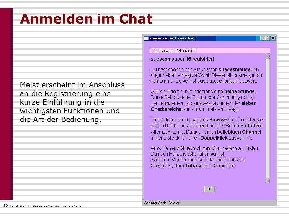 19    04.01.2014    © Barbara Günther, www.medienaktiv.de Anmelden im Chat Meist erscheint im Anschluss an die Registrierung eine kurze Einführung in