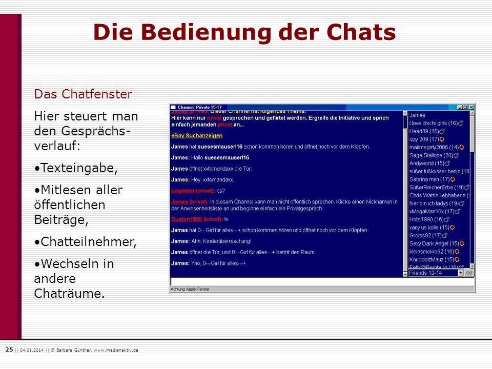 25    04.01.2014    © Barbara Günther, www.medienaktiv.de Die Bedienung der Chats Das Chatfenster Hier steuert man den Gesprächs- verlauf: Texteingabe