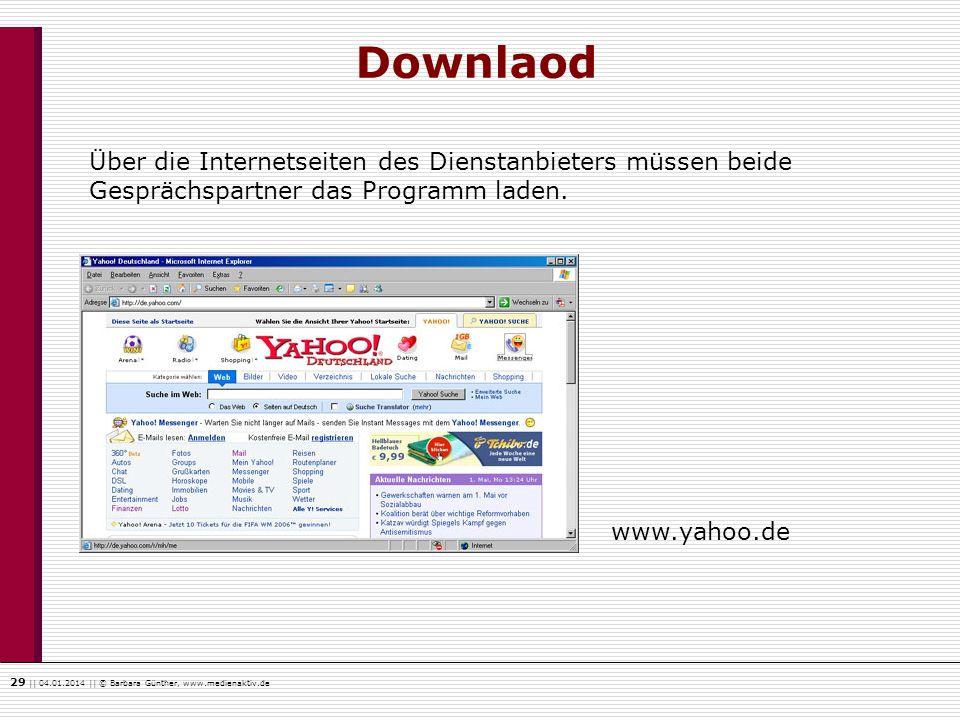29    04.01.2014    © Barbara Günther, www.medienaktiv.de Downlaod www.yahoo.de Über die Internetseiten des Dienstanbieters müssen beide Gesprächspart