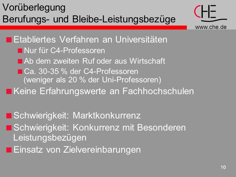 www.che.de 10 Vorüberlegung Berufungs- und Bleibe-Leistungsbezüge Etabliertes Verfahren an Universitäten Nur für C4-Professoren Ab dem zweiten Ruf ode