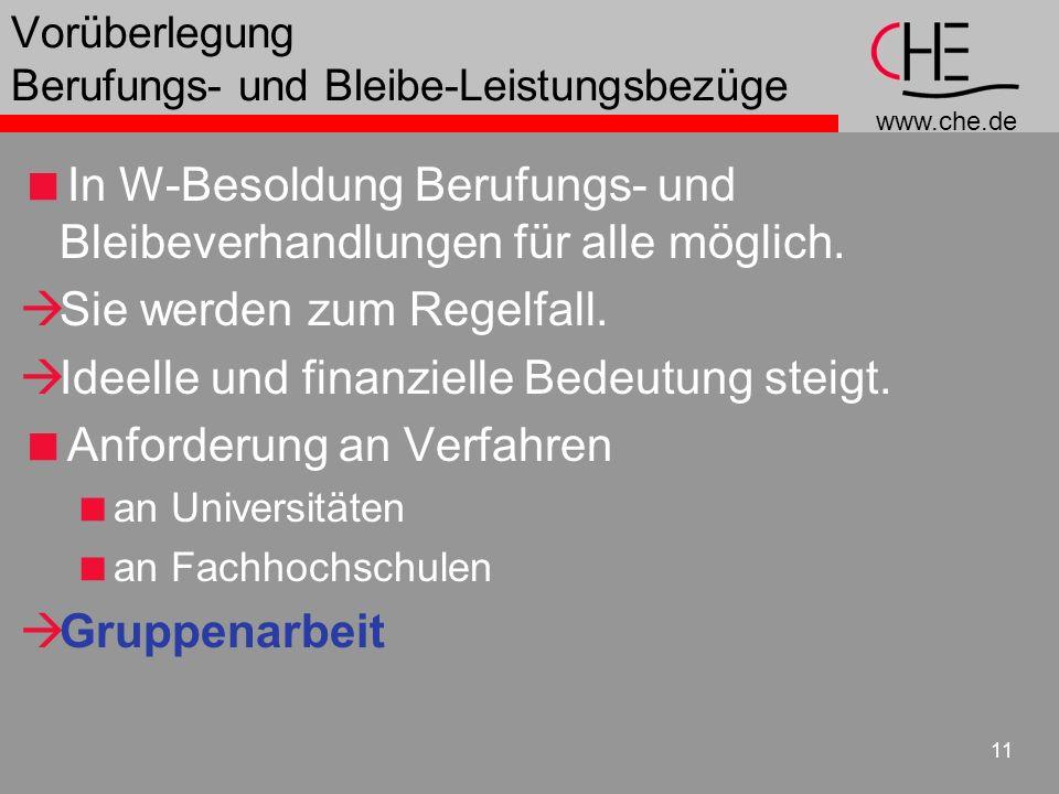 www.che.de 11 Vorüberlegung Berufungs- und Bleibe-Leistungsbezüge In W-Besoldung Berufungs- und Bleibeverhandlungen für alle möglich. Sie werden zum R