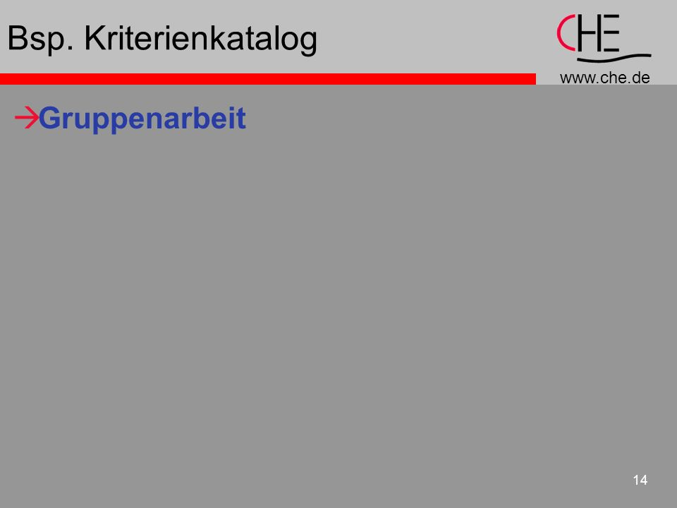 www.che.de 14 Bsp. Kriterienkatalog Gruppenarbeit