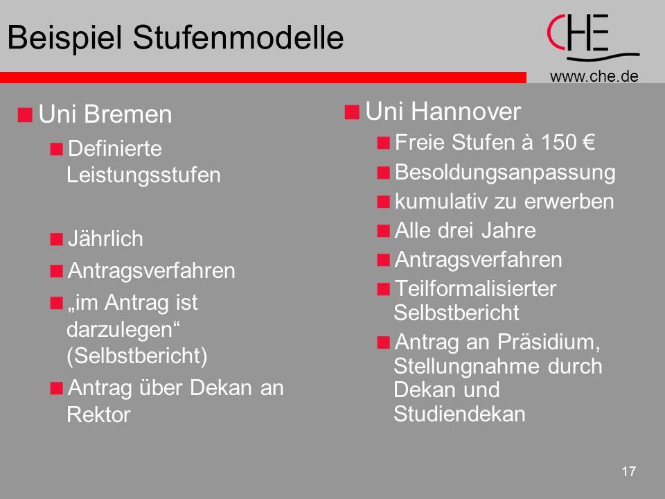 www.che.de 17 Beispiel Stufenmodelle Uni Bremen Definierte Leistungsstufen Jährlich Antragsverfahren im Antrag ist darzulegen (Selbstbericht) Antrag ü