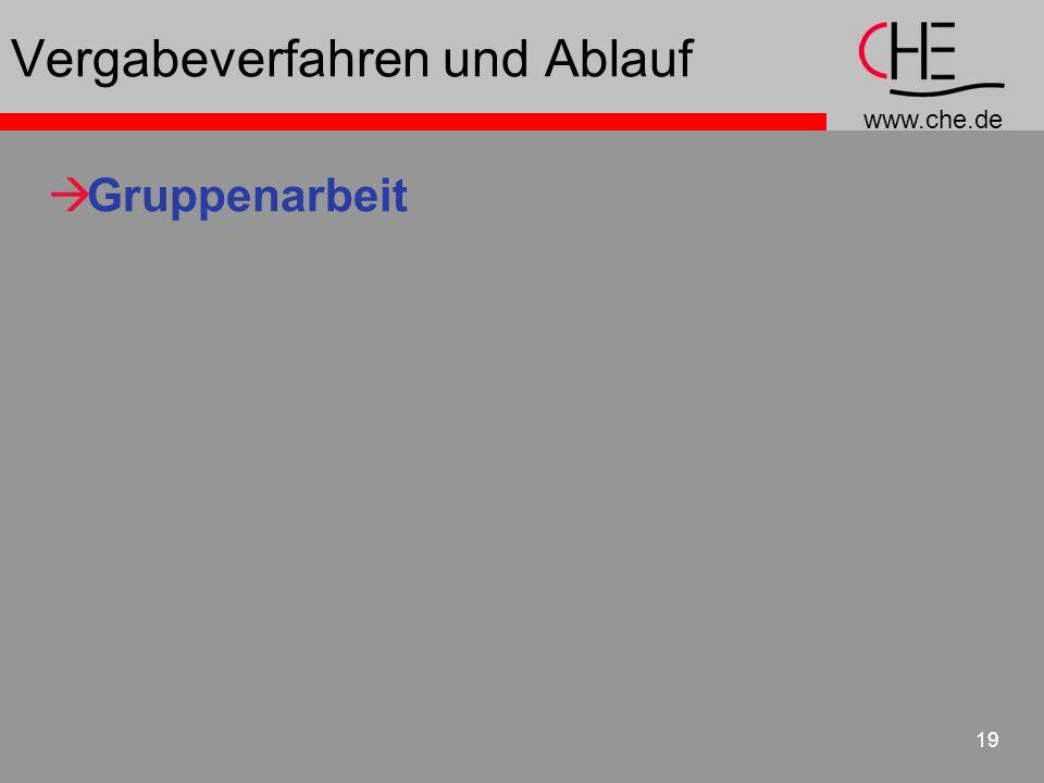 www.che.de 19 Vergabeverfahren und Ablauf Gruppenarbeit