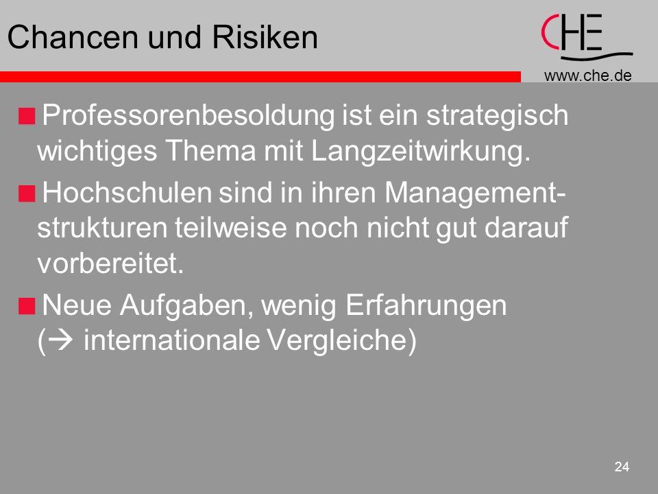www.che.de 24 Chancen und Risiken Professorenbesoldung ist ein strategisch wichtiges Thema mit Langzeitwirkung. Hochschulen sind in ihren Management-