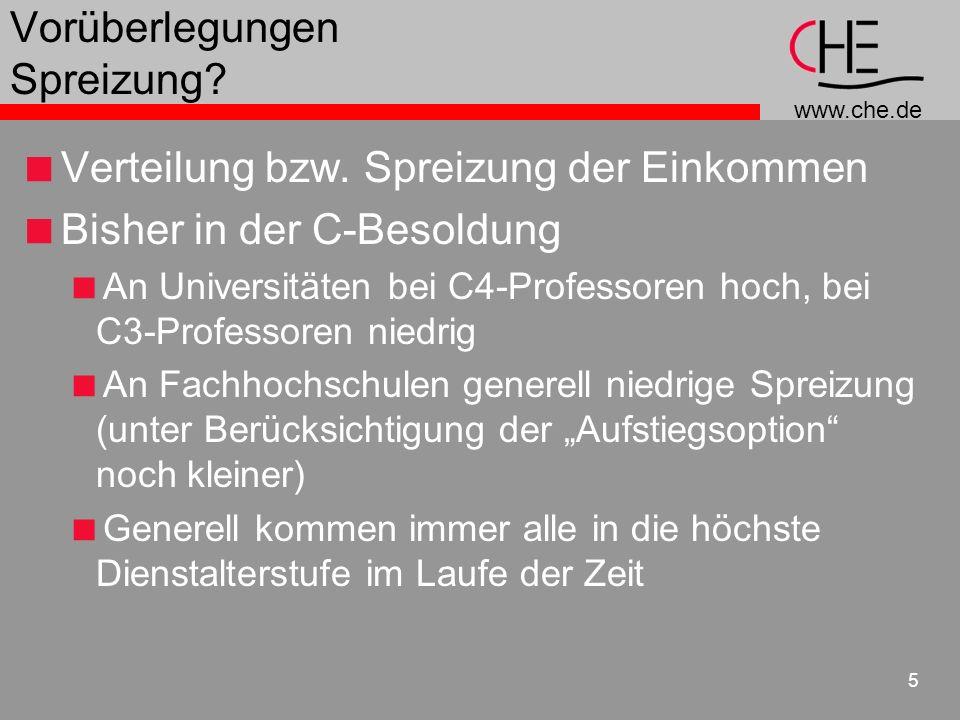 www.che.de 6 Bisherige Spreizung der Gehaltsstufen Universitäten Daten: Angegeben ist die Verteilung der C3- und C4-Professoren auf die Alterstufen (6-15), wie sie sich aus der Erhebung des BMI zum Stichtag 1.7.