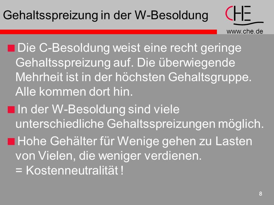 www.che.de 8 Gehaltsspreizung in der W-Besoldung Die C-Besoldung weist eine recht geringe Gehaltsspreizung auf. Die überwiegende Mehrheit ist in der h