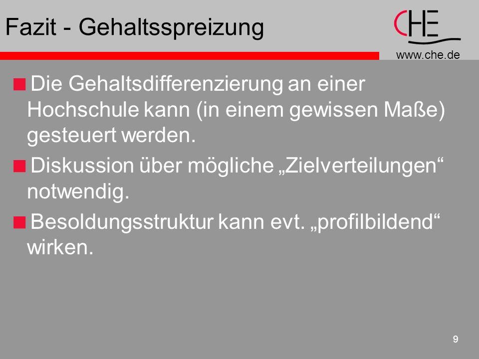 www.che.de 9 Fazit - Gehaltsspreizung Die Gehaltsdifferenzierung an einer Hochschule kann (in einem gewissen Maße) gesteuert werden. Diskussion über m