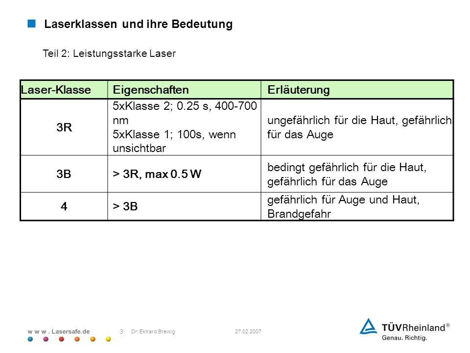 w w w. Lasersafe.de 27.02.2007 3 Dr. Ekkard Brewig Laserklassen und ihre Bedeutung Laser-KlasseEigenschaftenErläuterung 3R 5xKlasse 2; 0.25 s, 400-700
