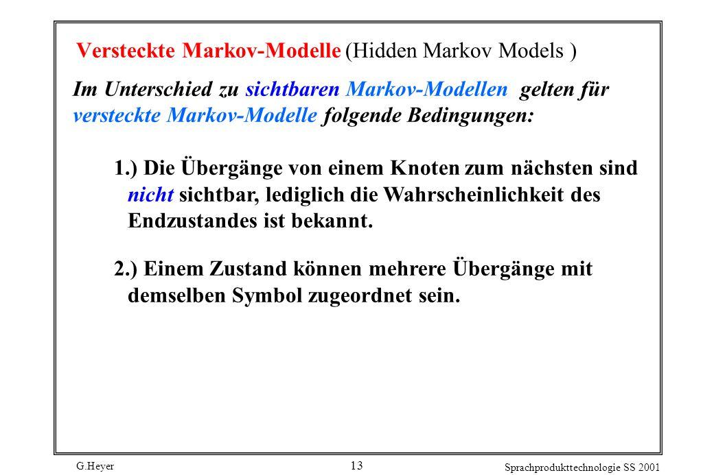 G.Heyer Sprachprodukttechnologie SS 2001 13 Versteckte Markov-Modelle (Hidden Markov Models ) Im Unterschied zu sichtbaren Markov-Modellen gelten für versteckte Markov-Modelle folgende Bedingungen: 1.) Die Übergänge von einem Knoten zum nächsten sind nicht sichtbar, lediglich die Wahrscheinlichkeit des Endzustandes ist bekannt.