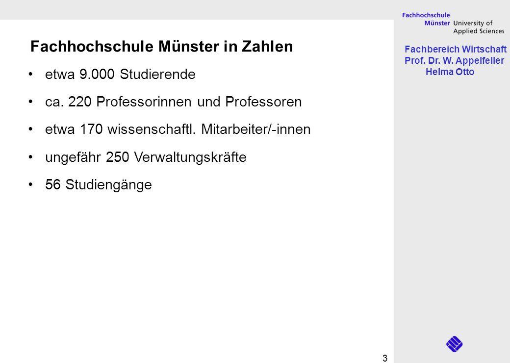 Fachbereich Wirtschaft Prof. Dr. W. Appelfeller Helma Otto 3 Fachhochschule Münster in Zahlen etwa 9.000 Studierende ca. 220 Professorinnen und Profes