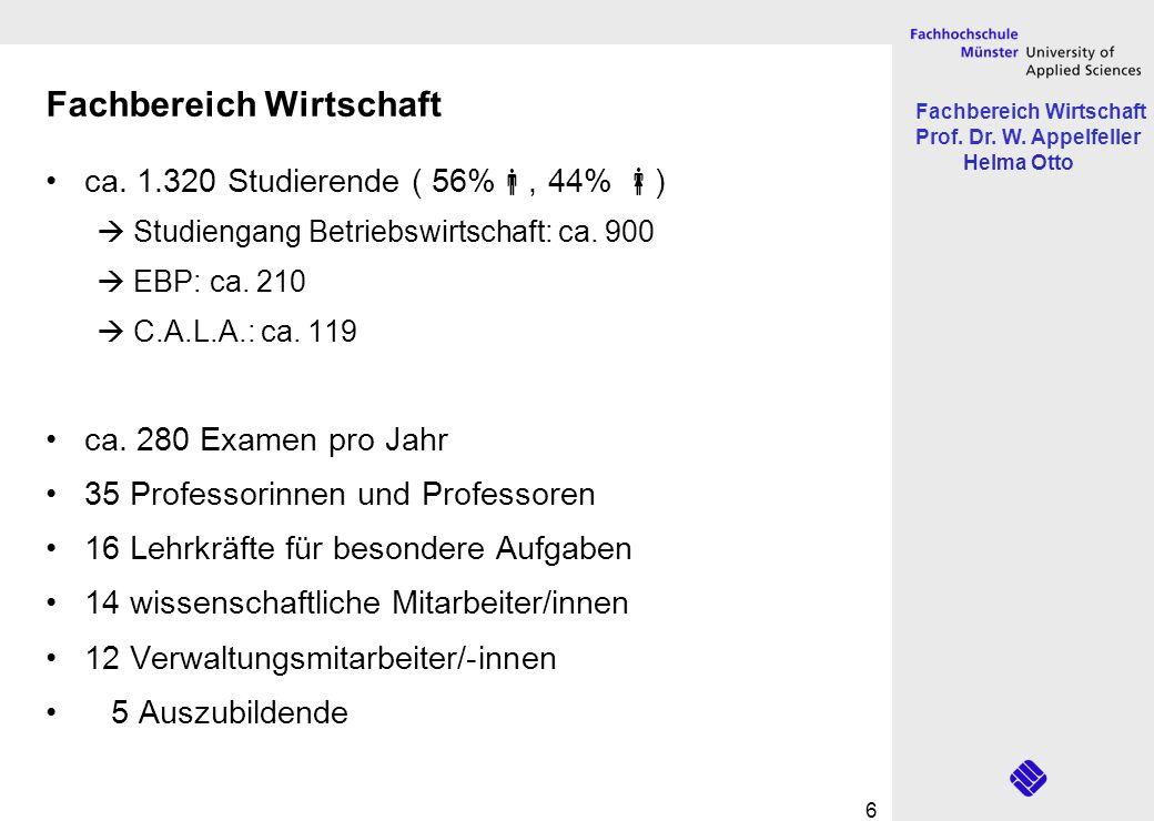 Fachbereich Wirtschaft Prof. Dr. W. Appelfeller Helma Otto 6 Fachbereich Wirtschaft ca. 1.320 Studierende ( 56%, 44% ) Studiengang Betriebswirtschaft: