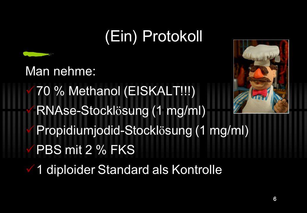 5 DNA-F ä rbung: Grundprinzip Der fluoreszierende Farbstoff Propidiumiodid interkaliert in DNA In einem gewissen Bereich geschieht das stöchiometrisch