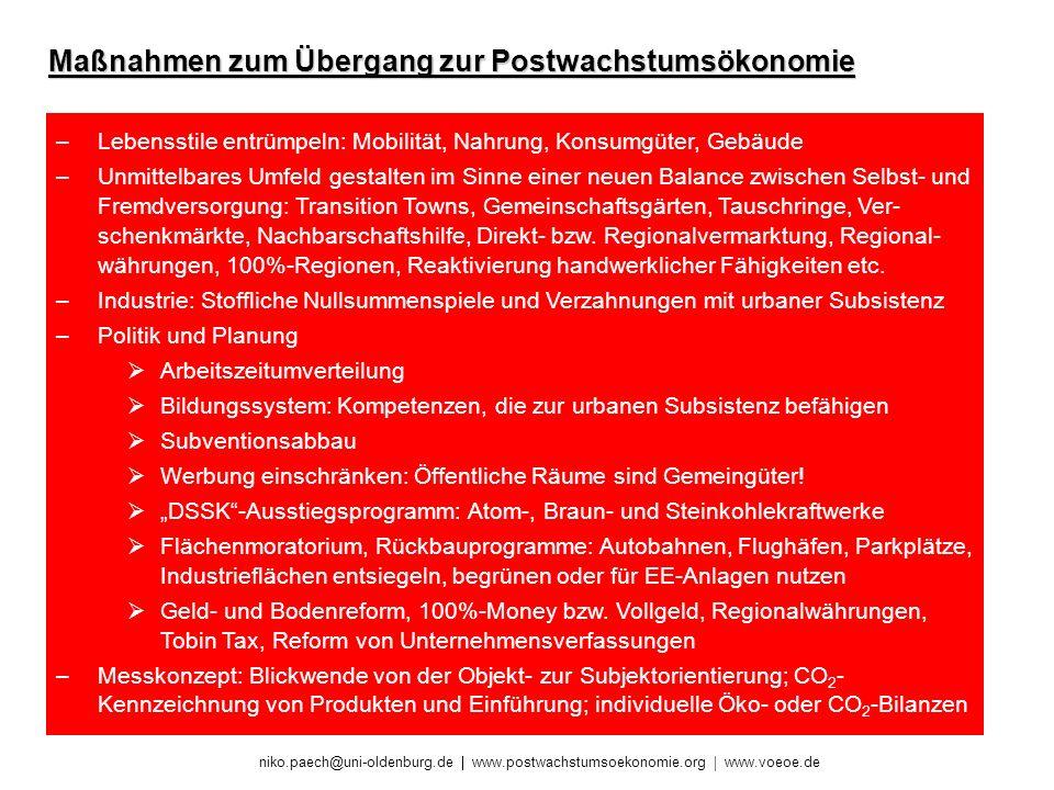niko.paech@uni-oldenburg.de www.postwachstumsoekonomie.org www.voeoe.de Maßnahmen zum Übergang zur Postwachstumsökonomie –Lebensstile entrümpeln: Mobi