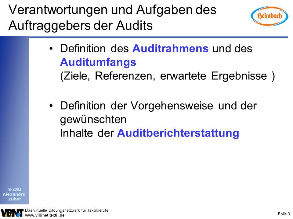 Folie 3 Das virtuelle Bildungsnetzwerk für Textilberufe www.vibinet-textil.de © 2003 Alexandra Zuber Verantwortungen und Aufgaben des Auftraggebers de