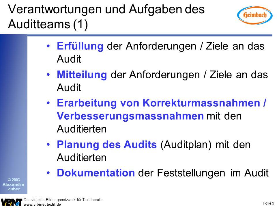 Folie 5 Das virtuelle Bildungsnetzwerk für Textilberufe www.vibinet-textil.de © 2003 Alexandra Zuber Verantwortungen und Aufgaben des Auditteams (1) E