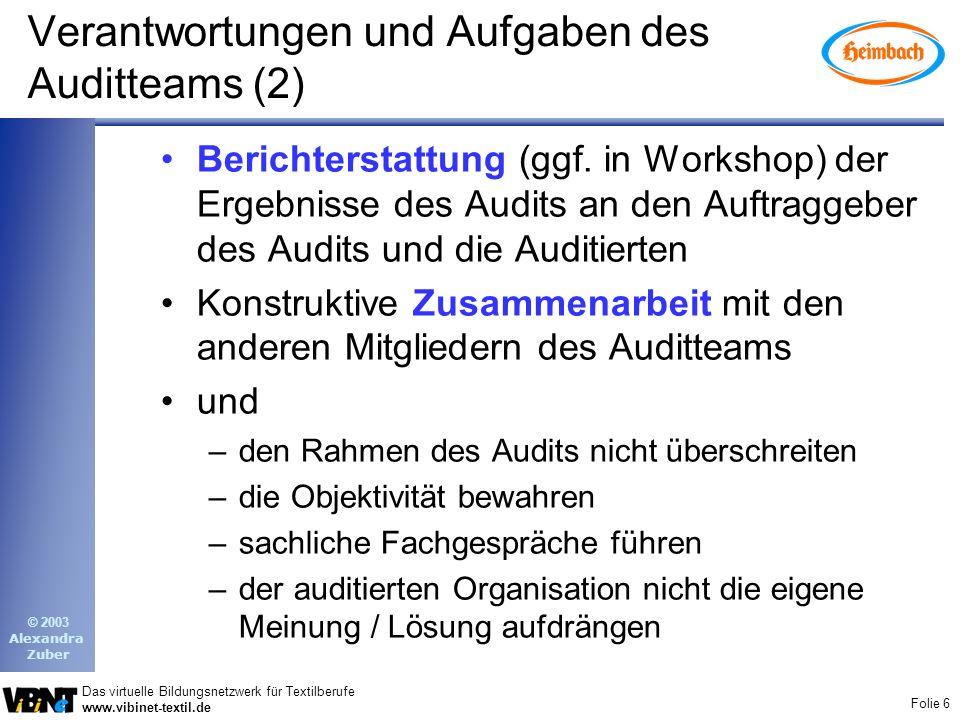 Folie 6 Das virtuelle Bildungsnetzwerk für Textilberufe www.vibinet-textil.de © 2003 Alexandra Zuber Verantwortungen und Aufgaben des Auditteams (2) B