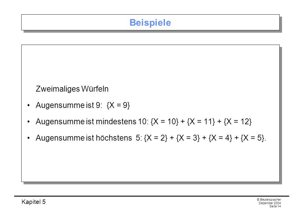 Kapitel 5 © Beutelspacher Dezember 2004 Seite 14 Beispiele Zweimaliges Würfeln Augensumme ist 9: {X = 9} Augensumme ist mindestens 10: {X = 10} + {X =