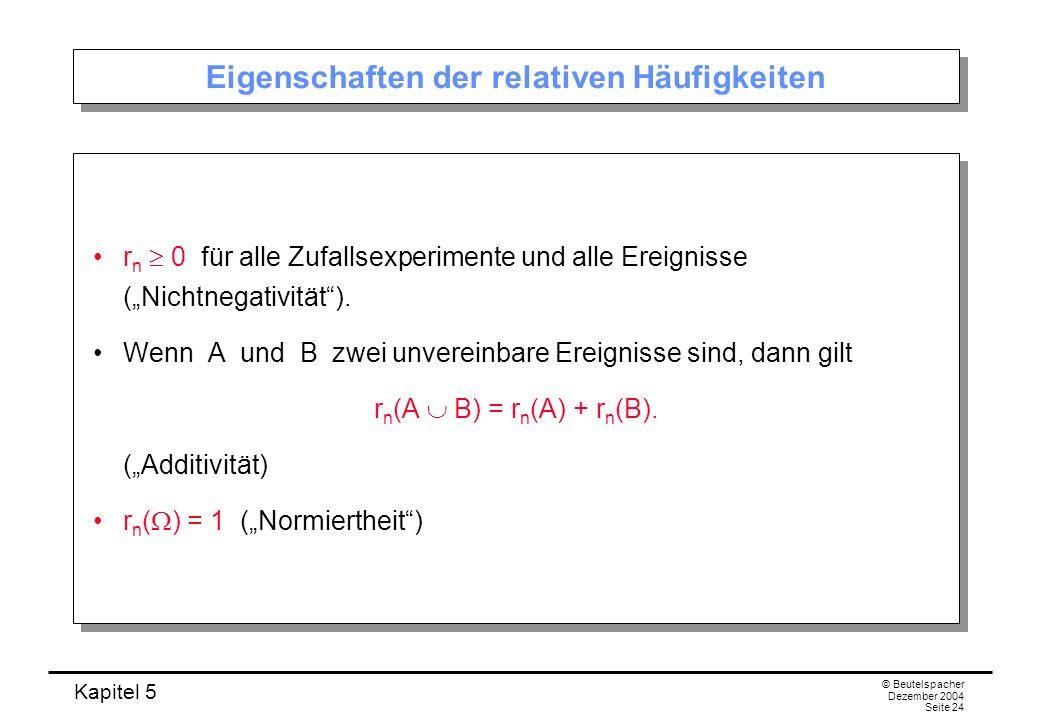 Kapitel 5 © Beutelspacher Dezember 2004 Seite 24 Eigenschaften der relativen Häufigkeiten r n 0 für alle Zufallsexperimente und alle Ereignisse (Nicht