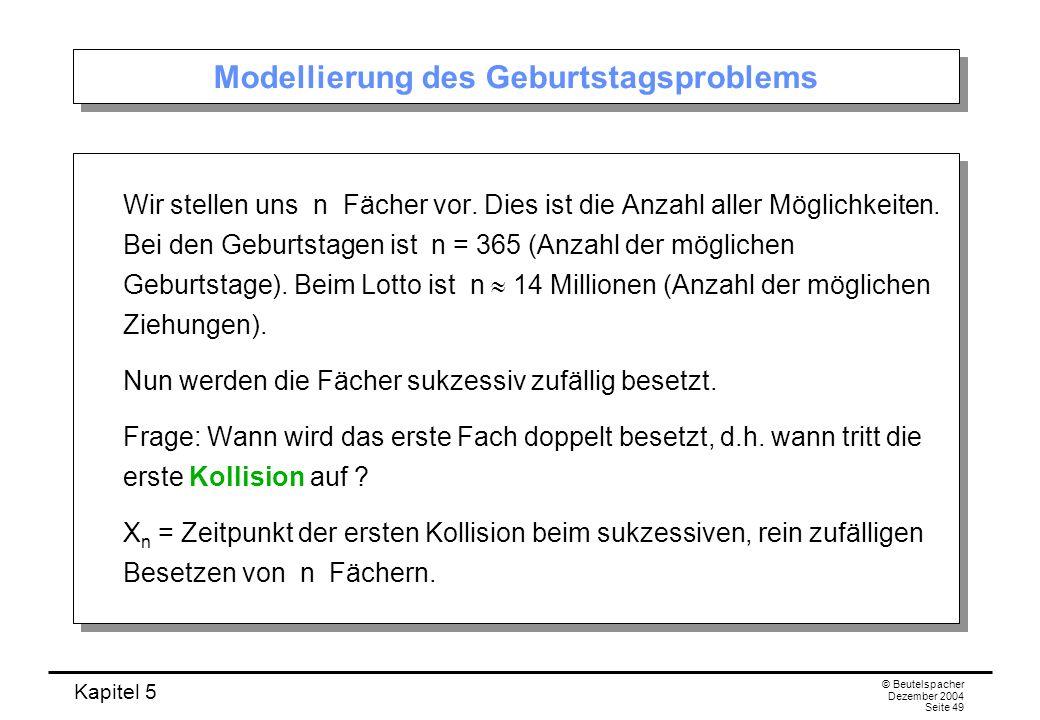 Kapitel 5 © Beutelspacher Dezember 2004 Seite 49 Modellierung des Geburtstagsproblems Wir stellen uns n Fächer vor. Dies ist die Anzahl aller Möglichk