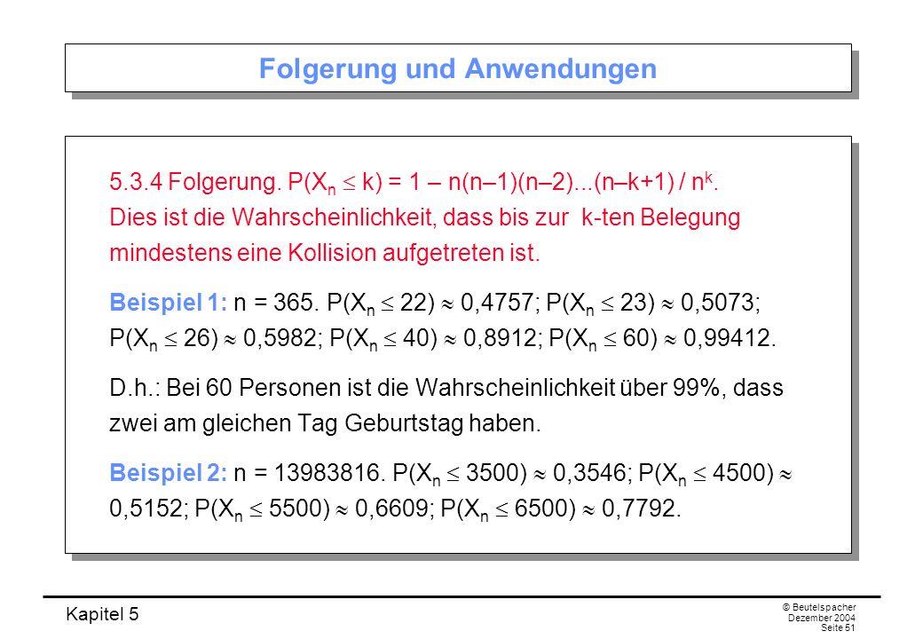 Kapitel 5 © Beutelspacher Dezember 2004 Seite 51 Folgerung und Anwendungen 5.3.4 Folgerung. P(X n k) = 1 – n(n–1)(n–2)...(n–k+1) / n k. Dies ist die W