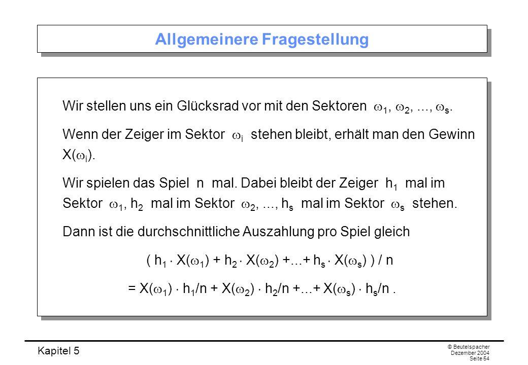Kapitel 5 © Beutelspacher Dezember 2004 Seite 54 Allgemeinere Fragestellung Wir stellen uns ein Glücksrad vor mit den Sektoren 1, 2,..., s. Wenn der Z