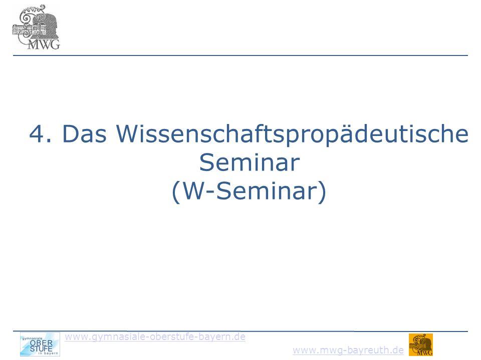 www.gymnasiale-oberstufe-bayern.de www.mwg-bayreuth.de Ziel: Wissenschaftliches Arbeiten erlernen fachwissenschaftliche Informationen - recherchieren - analysieren und abstrahieren - auf Wesentliches reduzieren - strukturieren und argumentieren - korrekt und vielfältig präsentieren kreative Wege und Lösungen finden Formalia und Zeitrahmen beachten