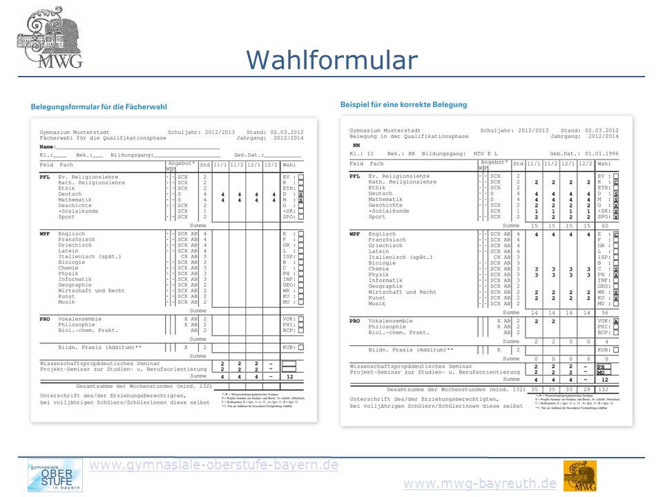 www.gymnasiale-oberstufe-bayern.de www.mwg-bayreuth.de weitere Informationen Oberstufenkoordinatoren im Internet: www.gymnasiale-oberstufe-bayern.de insbesondere: interaktiver Fächerplaner