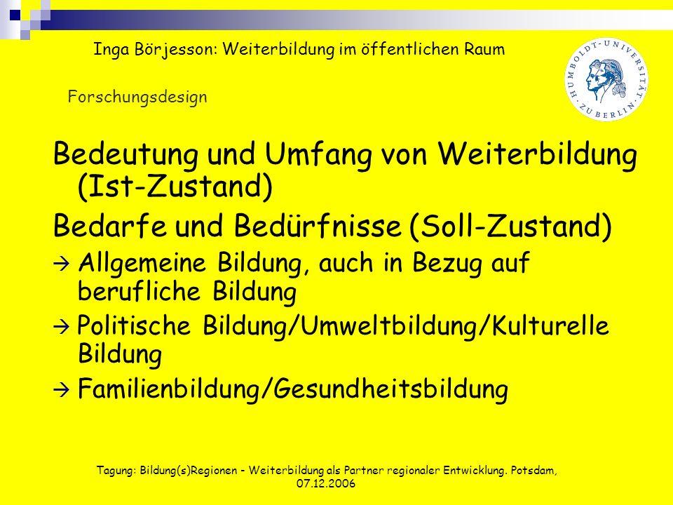 Tagung: Bildung(s)Regionen - Weiterbildung als Partner regionaler Entwicklung. Potsdam, 07.12.2006 Bedeutung und Umfang von Weiterbildung (Ist-Zustand